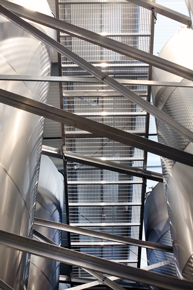 Winery Aluminum Catwalk Close Up From Below